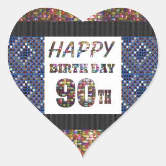 happybirthday happy birthday greeting 90 90th heart sticker