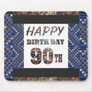 happybirthday happy birthday greeting 90 90th mouse pad