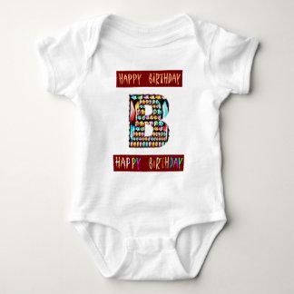HappyBirthday Script  - ALPHA Alphabet Decorative Baby Bodysuit