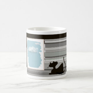 happycat sitting at the window coffee mug