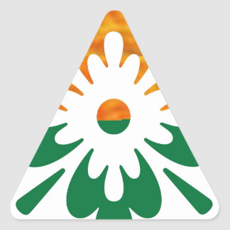 HappyDance Flower : Enjoy n Share the Joy Triangle Sticker