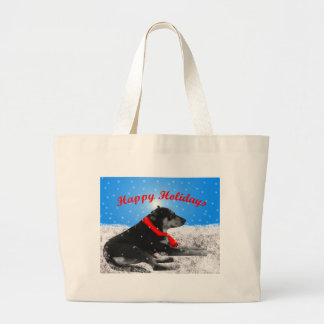 happyholidays-dog large tote bag