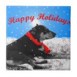 happyholidays-perro azulejos cerámicos