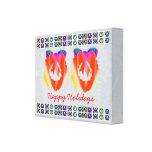 HappyHolidays RedRuby - decoraciones de la guirnal Impresion De Lienzo