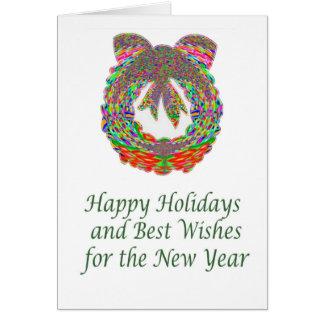 HappyHolidays Text n Diamond Gem Wreath Greeting Cards