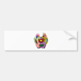 HappyHour Lotus Face : Decorated Mask Bumper Sticker