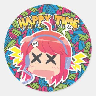 happytime round sticker
