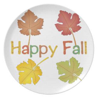 Hapy Fall Leaves Melamine Plate