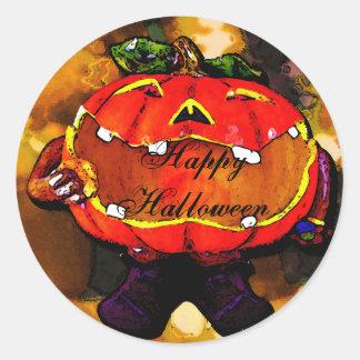 Hapy Halloween Etiqueta Redonda