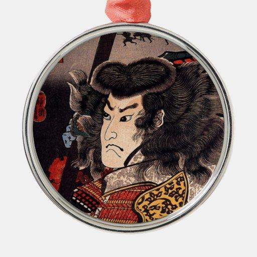 Hara Hayato No Sho Holding a Spear Round Metal Christmas Ornament