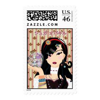 Harajuku Girl Mayumi - Katakana Postage Stamp