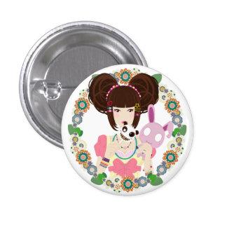 Harajuku Girl Yuriko - bordered 1 Inch Round Button