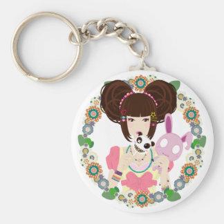 Harajuku Girl Yuriko - bordered Keychains