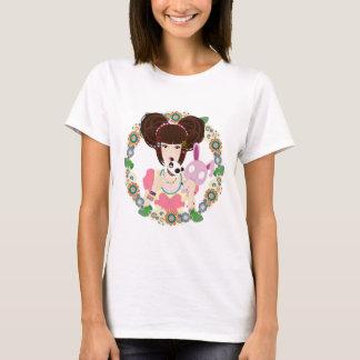 Harajuku Girl Yuriko bordered T-Shirt
