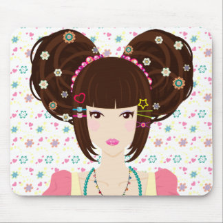 Harajuku Girl Yuriko with flowery background Mouse Pad