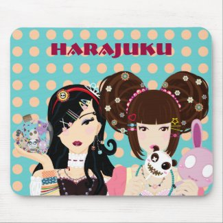 Harajuku Girls in Polka Dots mousepad
