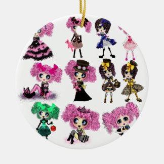 Harajuku Girls - Lolita fashionistas Double-Sided Ceramic Round Christmas Ornament