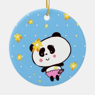 Harajuku Pandas fashion Cute Panda Double-Sided Ceramic Round Christmas Ornament