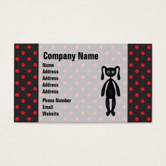 Harajuku Polka Dot Bunny in Red and Black Business Card