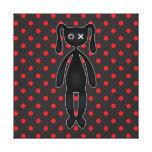 Harajuku Polka Dot Bunny in Red and Black Stretched Canvas Print