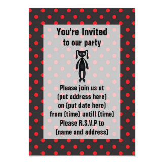 Harajuku Polka Dot Bunny in Red and Black Card