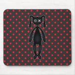 Harajuku Polka Dot Bunny in Red and Black Mouse Pads