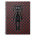 Harajuku Polka Dot Bunny in Red and Black Notebook