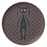 Harajuku Polka Dot Bunny in Red and Black Plates