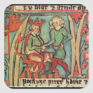 Harald I Fairhair greeting Guthrum 'Flateybok' Square Stickers
