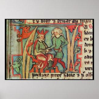 Harald I Fairhair Guthrum de saludo 'Flateybok Póster