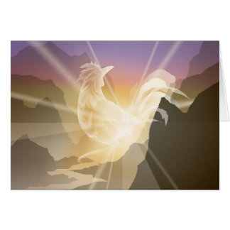Harbinger of Light - Sunrise Rooster Card
