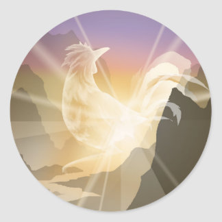 Harbinger of Light - Sunrise Rooster Classic Round Sticker