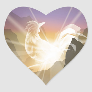 Harbinger of Light - Sunrise Rooster Heart Sticker