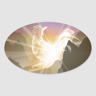 Harbinger of Light - Sunrise Rooster Oval Sticker