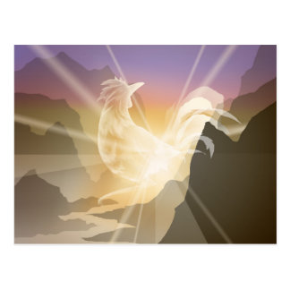 Harbinger of Light - Sunrise Rooster Postcard