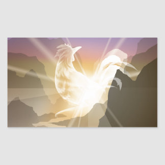 Harbinger of Light - Sunrise Rooster Rectangular Sticker