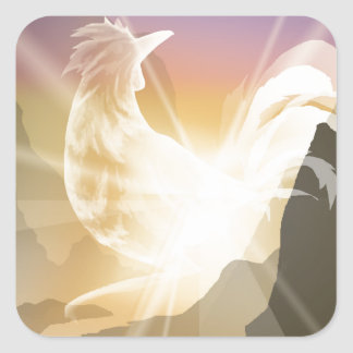 Harbinger of Light - Sunrise Rooster Square Sticker