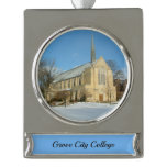 Harbison Chapel in Winter at Grove City College Silver Plated Banner Ornament