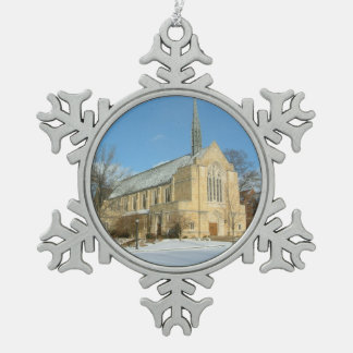 Harbison Chapel in Winter at Grove City College Snowflake Pewter Christmas Ornament