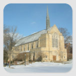 Harbison Chapel in Winter at Grove City College Square Sticker