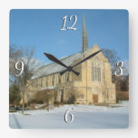 Harbison Chapel in Winter at Grove City College Square Wall Clock