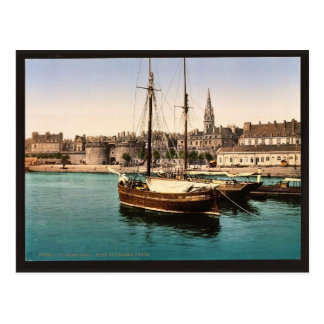 Harbor and main gate, St. Malo, France vintage Pho Postcard