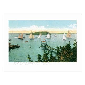 Harbor and Yacht Club Pier, Bar Harbor, Maine Postcard
