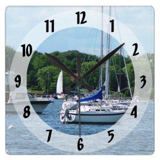 Harbor at Bristol RI Square Wall Clock