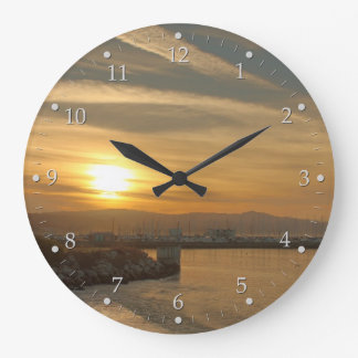 Harbor at Dawn Large Clock