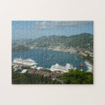 """Harbor at St. Thomas US Virgin Islands Jigsaw Puzzle<br><div class=""""desc"""">This is a view from the overlook at the cable cars on St. Thomas. You can see the harbor with the cruise ships and sailboats. The Caribbean water is a beautiful deep blue. Check out our store for more beautiful tropical scenes from Caribbean cruising. This picture is also featured as...</div>"""
