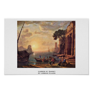 Harbor At Sunset By Lorrain Claude Posters