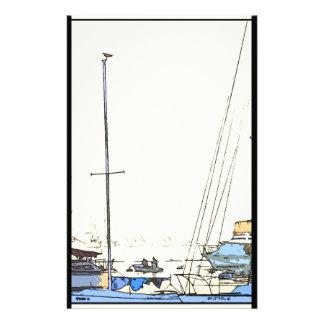 Harbor Boats Scene Stationery