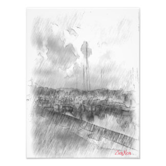 Harbor drawing effect art photo