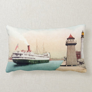 Harbor Entrance and Light Buffalo New York Vintage Lumbar Pillow